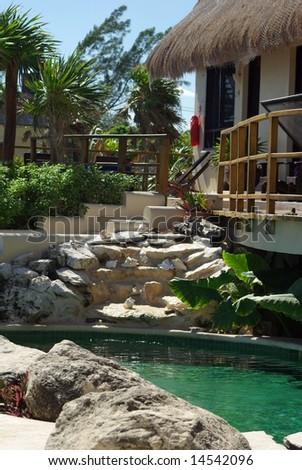 Cozy hotel in mexico - stock photo