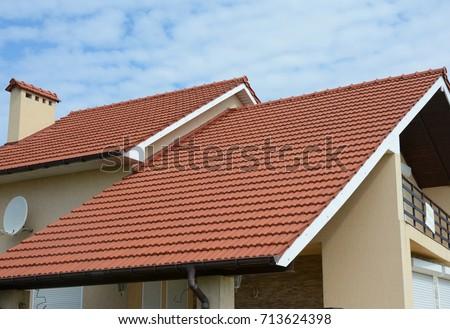 Cozy House Balcony Clay Tiled Roof Stock Photo 713624398