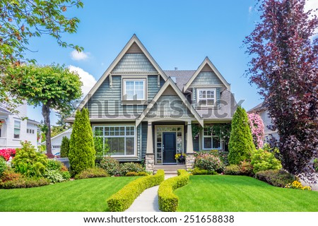 cozy house beautiful landscaping on sunny stock photo royalty free 251658838 shutterstock. Black Bedroom Furniture Sets. Home Design Ideas