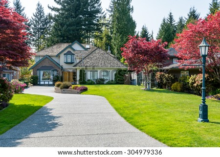 Cozy House Simple Cozy House Beautiful Landscaping On Sunny Stock Photo 280251458 Inspiration