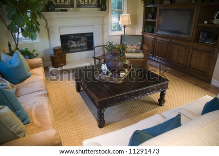 Cozy living room and fireplace. - stock photo