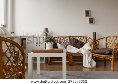 Cozy modern living room with wicker furniture - stock photo