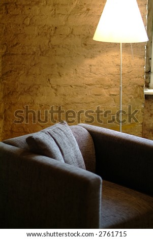 cozy place at the window, shallow DoF - stock photo