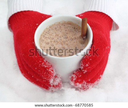 Cozy red gloves hold a mug of hot cocoa on a snowy day - stock photo
