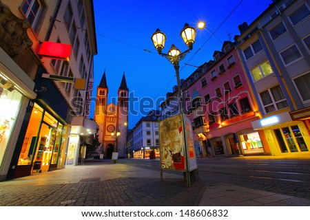 Cozy street of Wurzburg town at twilight. Germany - stock photo