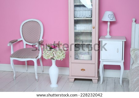cozy stylish vintage corner of the bedroom - stock photo