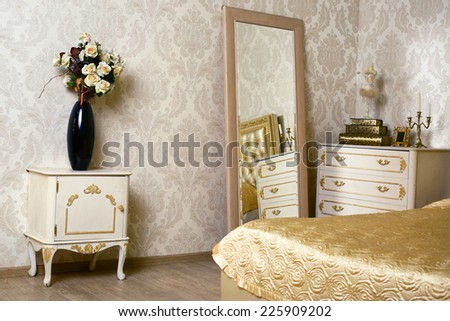 cozy stylish vintage corner of the ivory bedroom - stock photo
