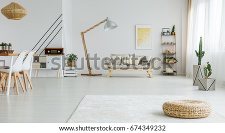 Cozy White Living Room With Dining Space And Wooden Sofa Part 85