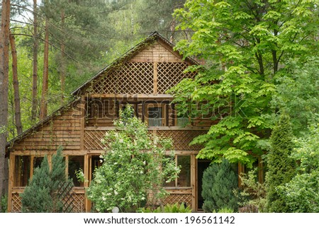 Cozy wooden house in the coniferous forest - stock photo