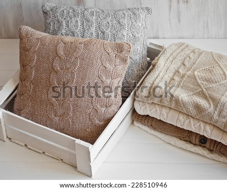 Cozy wool winter accessory. Warm sweaters  - stock photo