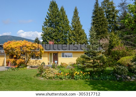 Cozy yellow house with yellow tree and beautiful landscaping on a sunny day. Home exterior. - stock photo