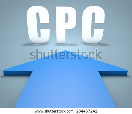 CPC - Cost per Click - 3d render concept of blue arrow pointing to text. - stock photo