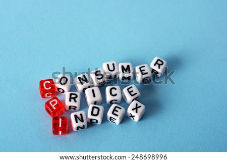 CPI Consumer Price Index  definition  acronym on blue - stock photo
