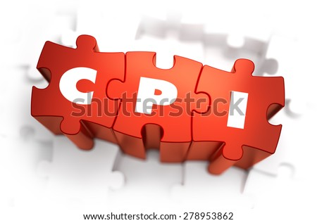 CPI - Consumer Price Index - White Word on Red Puzzles on White Background. 3D Illustration. - stock photo