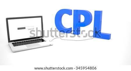 CPL - Cost per Lead - laptop notebook computer connected to a word on white background. 3d render illustration.