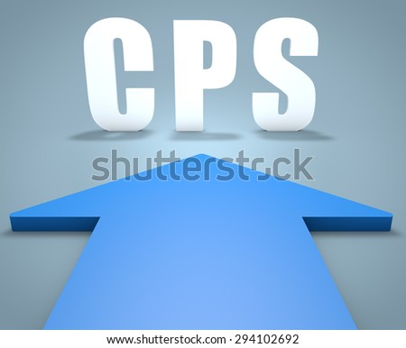 CPS - Cost per Sale - 3d render concept of blue arrow pointing to text.