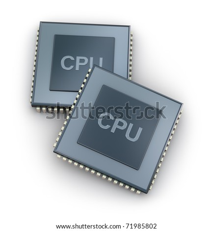 CPU - Central processor unit concept top view isolated on white - stock photo