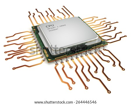 CPU central processor unit isolated on white. 3d - stock photo