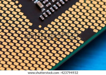 CPU contacts are welded electrical shock from contact does not close, Focal points of damage - stock photo