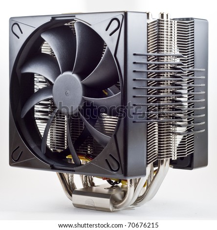 cpu cooler , Heat Sinc with 2 fans - stock photo