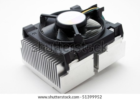 CPU Cooler or heat sink isolated om black background - stock photo