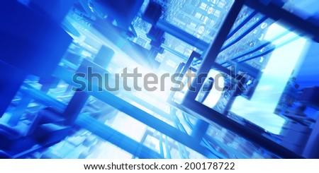 Cpu inside. Fast motion binary code. Fantasy high-tech 3d illustration. - stock photo