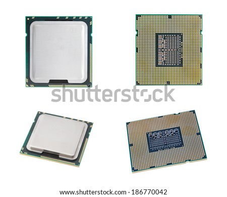 CPU isolated  set on white background with out shadow. - stock photo