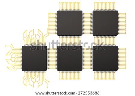 CPU Microchips as Circuit on a white background - stock photo