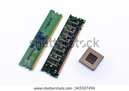 CPU, RAM module on white background.
