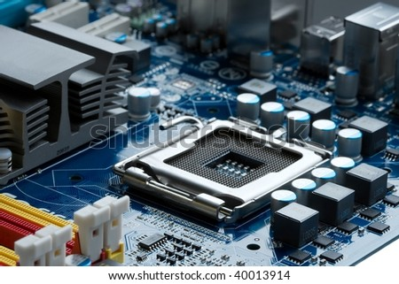 CPU socket on a computer motherboard - stock photo
