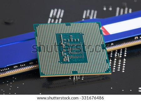 CPU socket on motherboard rear a new generation RAM. - stock photo