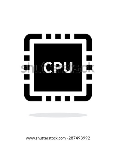 CPU with name simple icon on white background. - stock photo