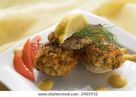 crab cake with baked, stuffed clams