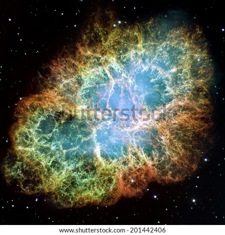 Crab Nebula - part of the constellation Taurus. Its a remnant of a supernova in the year 1054. Its core is a strong pulsar neutron star. Retouched and cleaned version of original image from NASA/STScI - stock photo