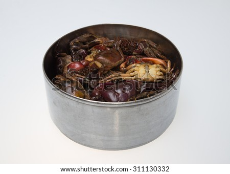 crab on the Stainless steel cup