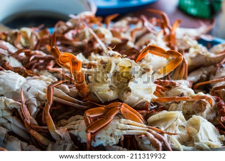 Crab,Seafood background - stock photo