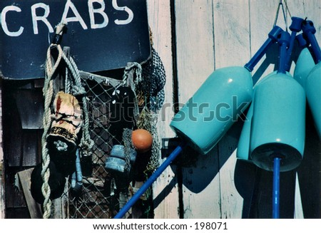Crab Shack with buoy in Rockport Massachusetts - stock photo