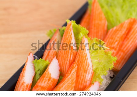 Crab stick ready for eating.