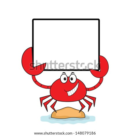 Crab with banner. - stock photo