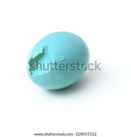 Crack bird eggs isolated on white - stock photo