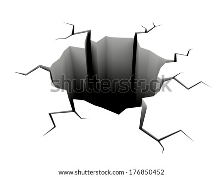 Crack hole isolated on white ground surface - stock photo
