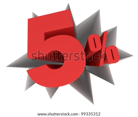 crack in the floor with the number five and the percent symbol that come out (3d render) - stock photo