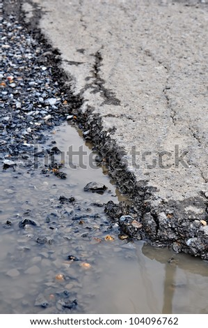 Cracked asphalt road close up