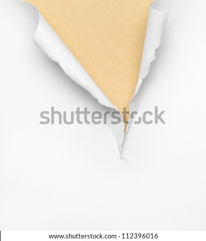 Cracked beige paper background, isolated on white - stock photo