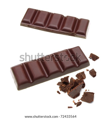 Cracked chocolate bars on white background - stock photo