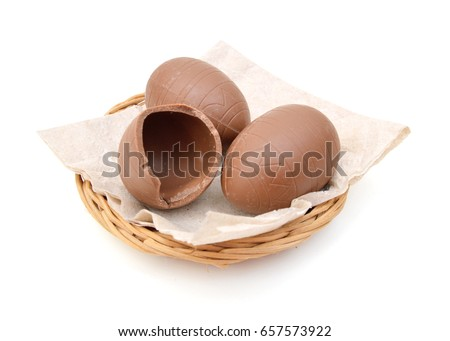 Cracked chocolate egg isolated in basket on white