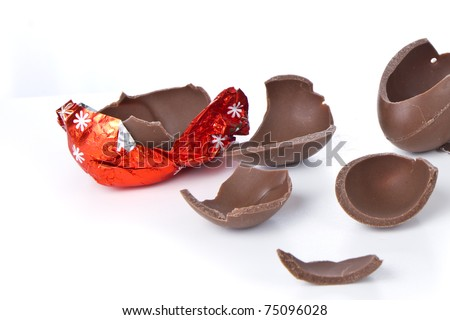 cracked chocolate egg isolated on white - stock photo