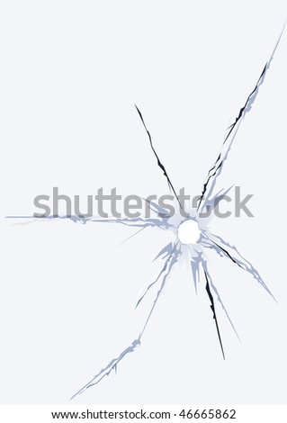 cracked damage hole fracture glass - stock photo