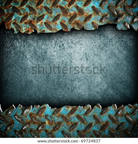 cracked diamond plate - stock photo