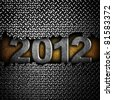 "cracked diamond plate with ""2012"" number - stock photo"